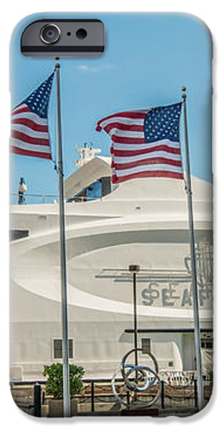 Five US Flags flying proudly in front of the megayacht Seafair - Miami - Florida - Panoramic iPhone Case by Ian Monk