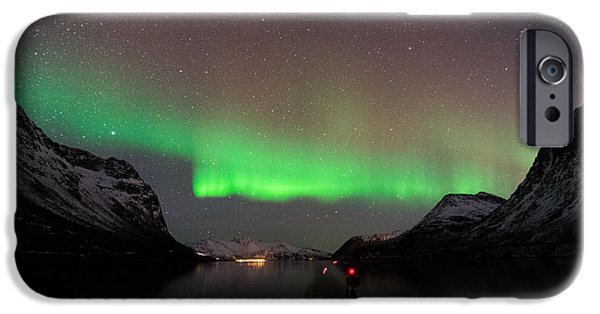 Norway iPhone Cases - Fjord around Tromso in Norway with Northern Lights   iPhone Case by Elke Christina Lackner