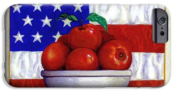 4th July Paintings iPhone Cases - Flag and Apples iPhone Case by Linda Mears