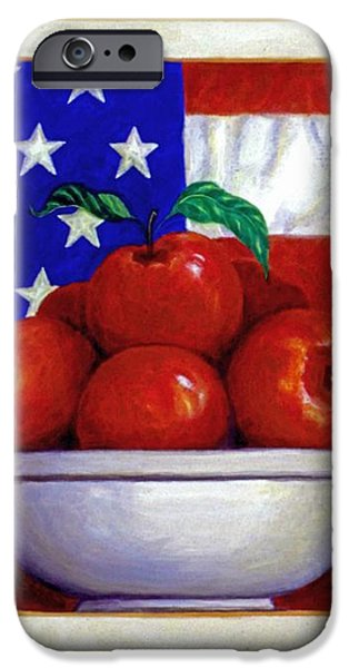 Flag and Apples iPhone Case by Linda Mears