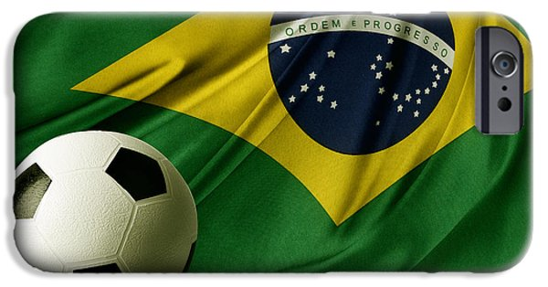 Brasil iPhone Cases - Flag and ball iPhone Case by Les Cunliffe