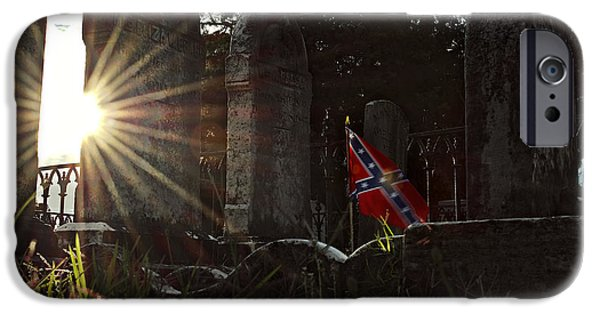 Cemetary iPhone Cases - Flag and Stone iPhone Case by Brian Archer