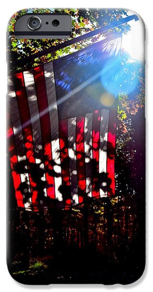 American Flag iPhone Cases - Flag Art 4 iPhone Case by Lawrence Hess