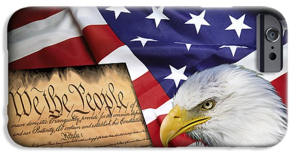 Constitution iPhone Cases - Flag Constitution Eagle iPhone Case by Daniel Hagerman