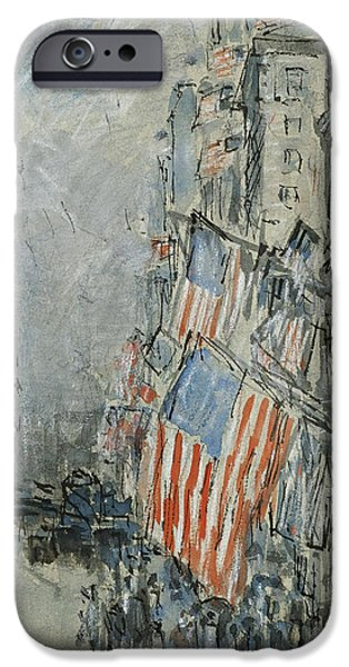 4th July Drawings iPhone Cases - Flag Day. Fifth Avenue. July 4th 1916 iPhone Case by Childe Hassam