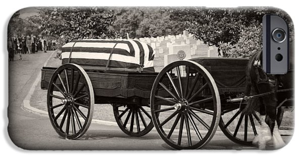Headstones iPhone Cases - Flag Draped Casket At Arlington with Border iPhone Case by Greg Mimbs