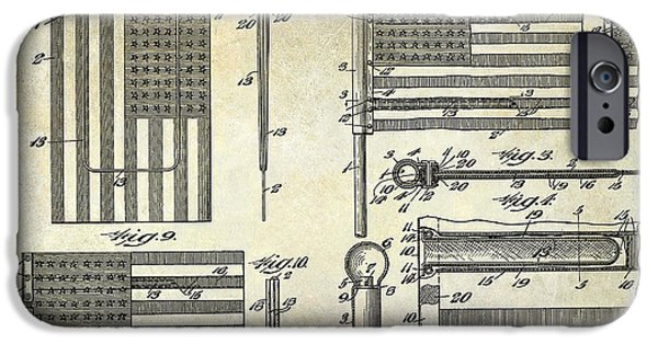 Flag iPhone Cases - 1927 Flag Spreader Patent Drawing iPhone Case by Jon Neidert