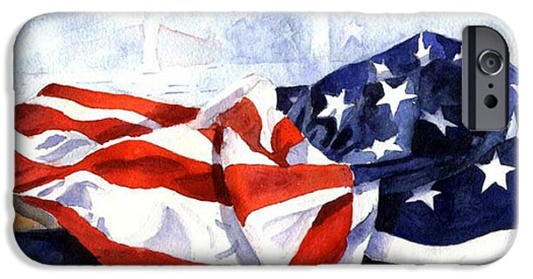Patriotism Paintings iPhone Cases - Flag in  the Window iPhone Case by Suzy Pal Powell