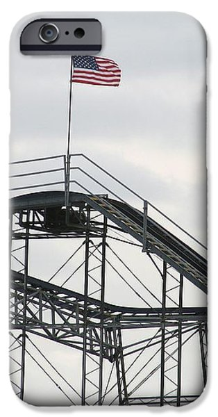 Flag mounted on Seaside Heights Roller Coaster iPhone Case by Melinda Saminski