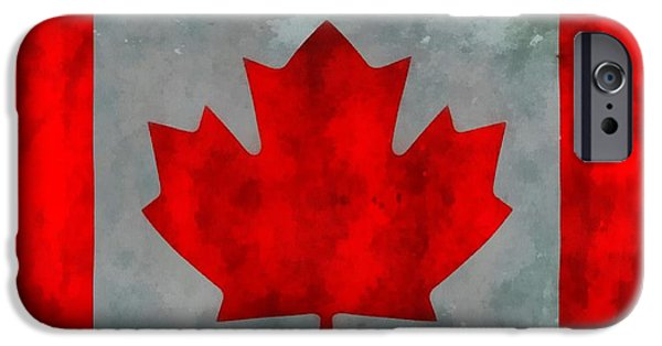 Quebec Paintings iPhone Cases - Flag Of Canada iPhone Case by Dan Sproul