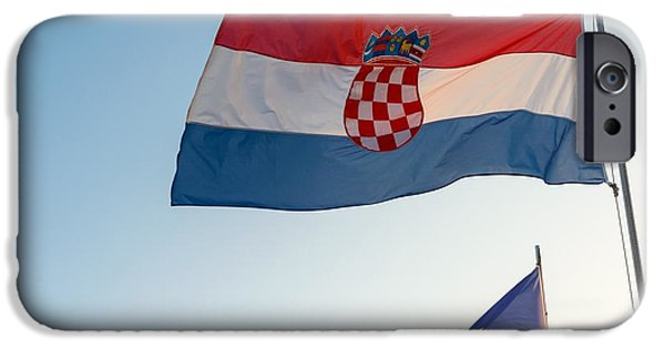 Nation Pyrography iPhone Cases - Flag of Croatia and the european union iPhone Case by Oliver Sved