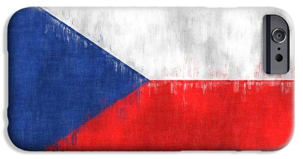 Czech Republic Digital Art iPhone Cases - Flag of Czech Republic iPhone Case by World Art Prints And Designs