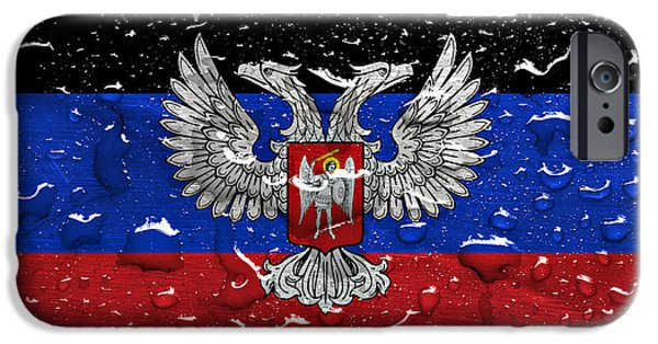 Patriots iPhone Cases - flag of Donetsk Peoples Republic with rain drops iPhone Case by Dan Radi