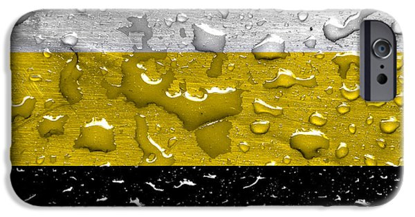 Rainy Day iPhone Cases - flag of Federal State of Novorossiya with rain drops iPhone Case by Dan Radi