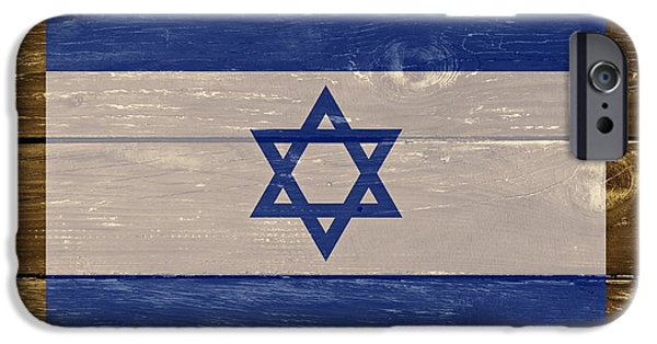 Business Digital Art iPhone Cases - Israel National Flag on Wood iPhone Case by Movie Poster Prints