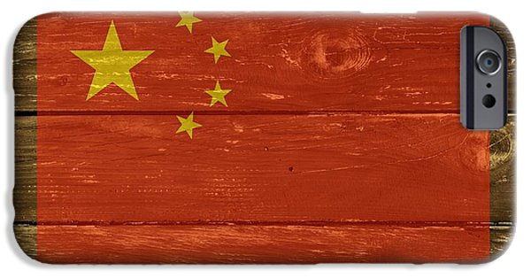 China Beach iPhone Cases - China National Flag on Wood iPhone Case by Movie Poster Prints