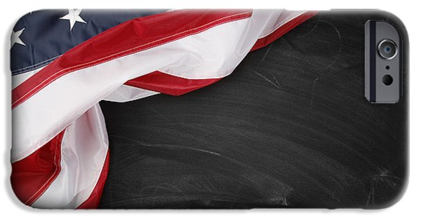 Flag iPhone Cases - Flag on blackboard iPhone Case by Les Cunliffe