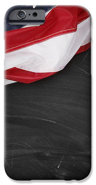 Flag on blackboard iPhone Case by Les Cunliffe