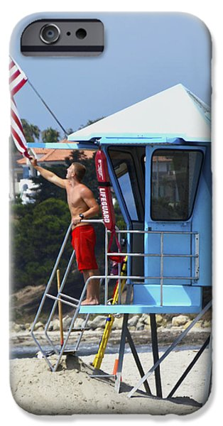 Old Glory iPhone Cases - Flag Waving Lifeguard iPhone Case by Floyd Snyder
