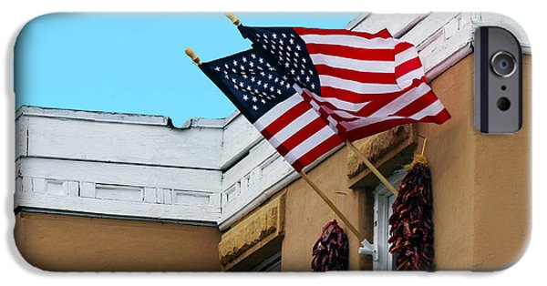 Old Glory iPhone Cases - Flags Flying in Albuquerque iPhone Case by Catherine Sherman