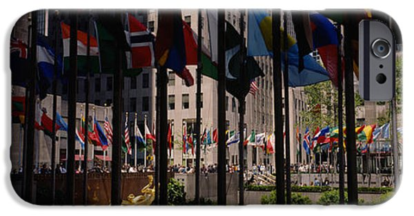Flag iPhone Cases - Flags In A Row, Rockefeller Plaza iPhone Case by Panoramic Images