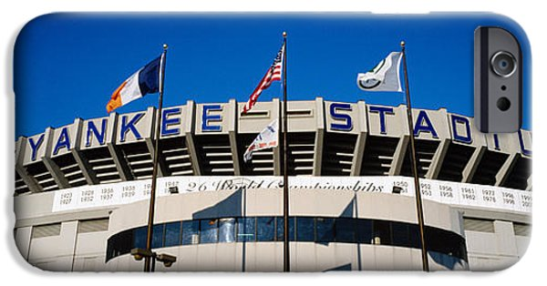 Baseball Stadiums iPhone Cases - Flags In Front Of A Stadium, Yankee iPhone Case by Panoramic Images