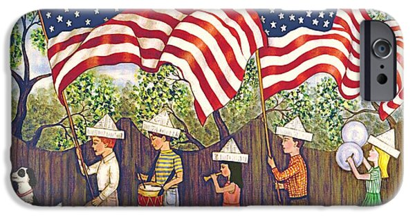4th July Paintings iPhone Cases - Flags iPhone Case by Linda Mears