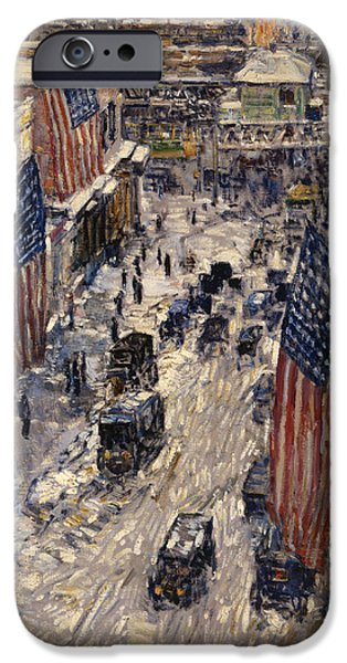 Childe iPhone Cases - Flags on 57th Street iPhone Case by Childe Hassam