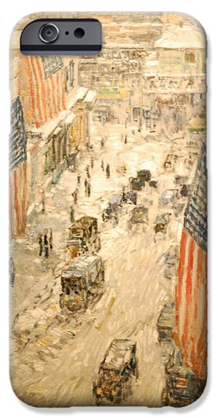Old Glory Paintings iPhone Cases - Flags on 57th Street iPhone Case by Nomad Art And  Design
