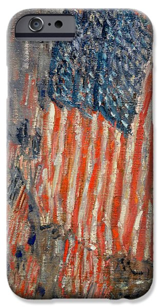 Old Glory Paintings iPhone Cases - Flags on the Waldorf iPhone Case by Nomad Art And  Design