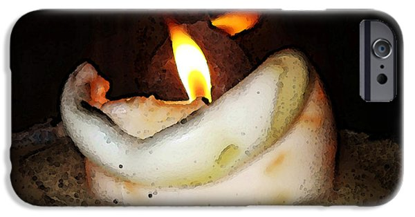 Warm Digital Art iPhone Cases - Flame Candle Art iPhone Case by Sharon Cummings
