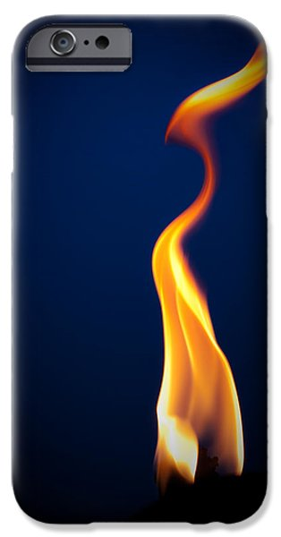 Blue Pyrography iPhone Cases - Flame iPhone Case by Darryl Dalton