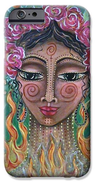 Maya Telford iPhone Cases - Flame Fairy iPhone Case by Maya Telford