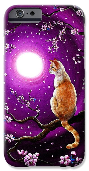 Flame Point Siamese iPhone Cases - Flame Point Siamese Cat in Dancing Cherry Blossoms iPhone Case by Laura Iverson