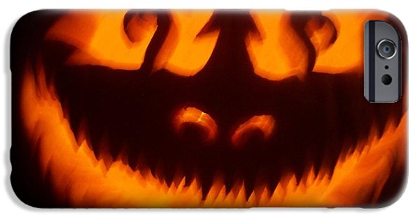 Vivid Sculptures iPhone Cases - Flame Pumpkin iPhone Case by Shawn Dall