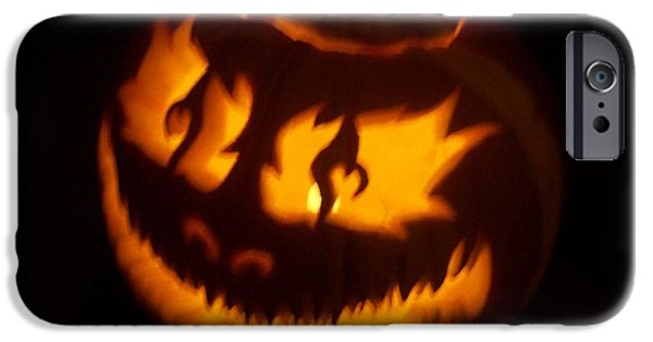 Vivid Sculptures iPhone Cases - Flame Pumpkin Side iPhone Case by Shawn Dall