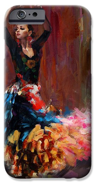 Leonid iPhone Cases - Flamenco 50 iPhone Case by Maryam Mughal