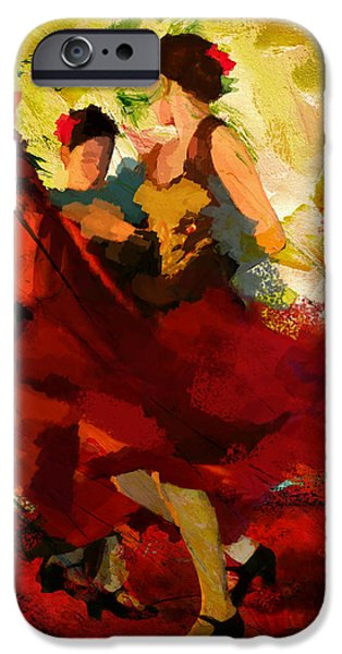 French Quarter Paintings iPhone Cases - Flamenco Dancer 019 iPhone Case by Catf
