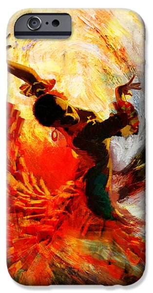 Storm Paintings iPhone Cases - Flamenco Dancer 021 iPhone Case by Mahnoor Shah