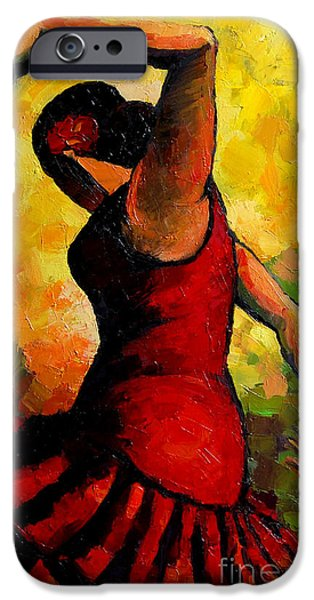 Abstract Expressionism iPhone Cases - Flamenco iPhone Case by Mona Edulesco