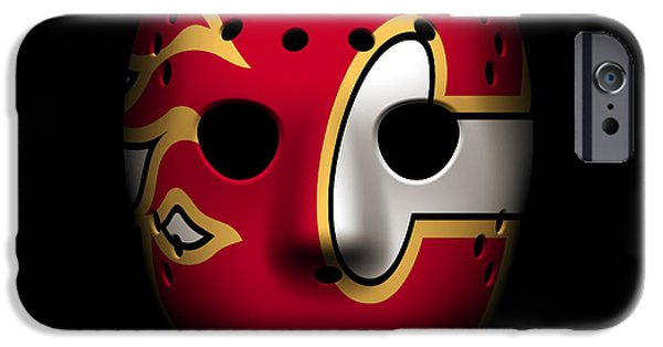 Flame iPhone Cases - Flames Goalie Mask iPhone Case by Joe Hamilton