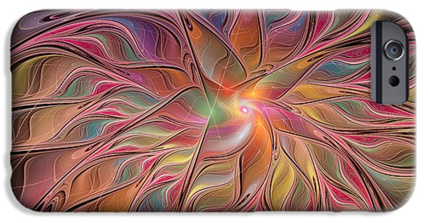 Green Surreal Geometric iPhone Cases - Flames of Happiness iPhone Case by Deborah Benoit