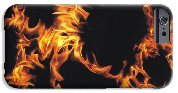 Abstract Digital Photographs iPhone Cases - Flames iPhone Case by Panoramic Images