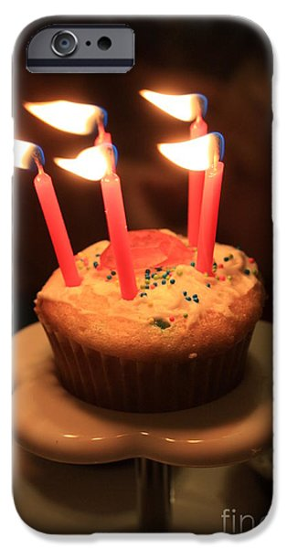 Flaming Birthday Cupcake Closeup iPhone Case by Robert D  Brozek