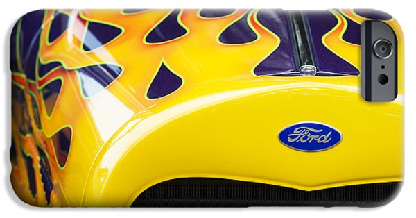 Airbrush Photographs iPhone Cases - Flaming Hot Rod iPhone Case by Tim Gainey
