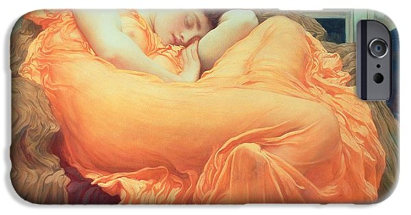 Pre-raphaelites iPhone Cases - Flaming June iPhone Case by Frederic Leighton
