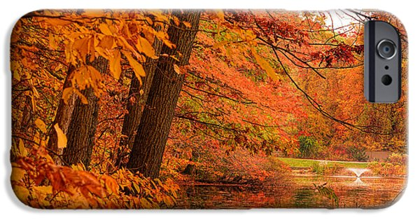 Autumn In New England iPhone Cases - Flaming Leaves iPhone Case by Lourry Legarde