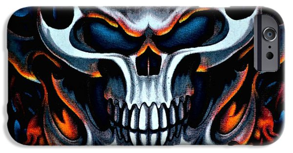 Creepy iPhone Cases - Flaming Skull iPhone Case by Deena Stoddard