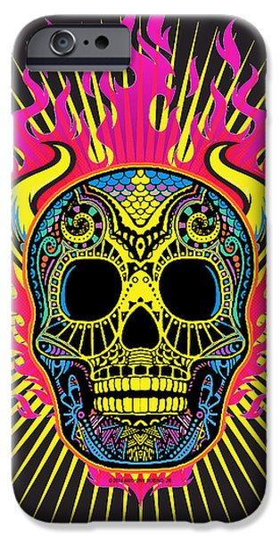 Smiling Mixed Media iPhone Cases - Flaming Skull iPhone Case by Tony Rubino