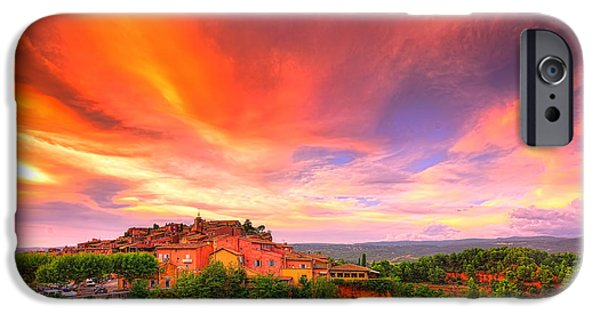 Provence Village iPhone Cases - Flaming Sky iPhone Case by Midori Chan